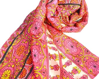 long pink silk scarf, floral scarf, indian print scarves, handmade silk scarfs, silk shawls, yellow white scarf, bohemian boho chic wrap