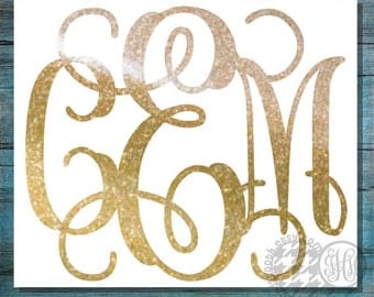 Glitter Monogram Decal, Glitter Car Decal, Monogram Car Decal, Laptop Decal, 5 inch Decal, 6 inch, 7 inch, 8 inch, 9 inch, 10 inch, 11 inch