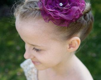FLOWER HAIR CLIP with Swarovski crystals - Plum Organza (Large)