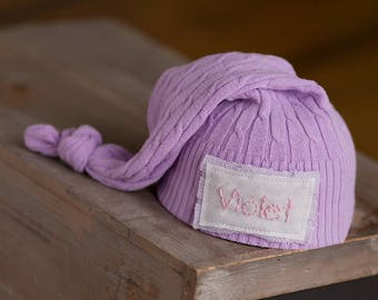 Personalized Newborn Hat, Newborn Name Hat, Newborn Girl Hat, Newborn Photo Prop, Newborn Hats, Coming Home Outfit, Purple Newborn Hat, RTS