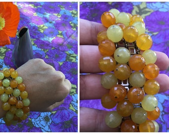 "60's Gradient Orange and Yellow Beaded Bracelet - 6 1/2 - 7"" Wrist"