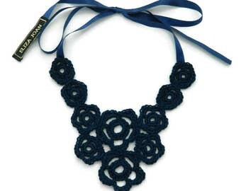 Navy bib necklace / Flower necklace / Statement necklace / 1960's / Crochet jewelry / Navy lace necklace / Flower necklace / Fashion jewelry