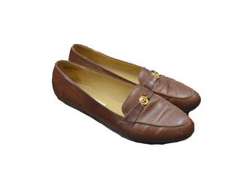 Vintage Loafer Shoes Brown Loafers Womens Loafers Brown Flats Brown Leather Shoes