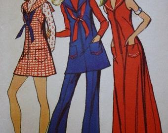 70s Dress Sewing Pattern/ Simplicity 5156 /Bell Bottom Pants
