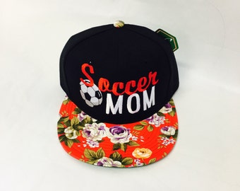 Custom Embroidery Soccer Mom Black and Red Floral Print Snapback