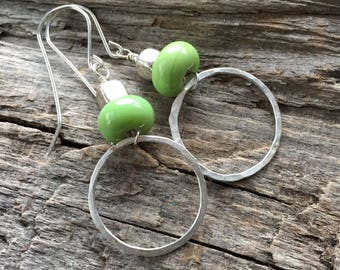 Fine Silver Hoop Earrings with Lime Green Lampwork Bead