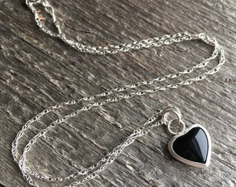 Black Onyx Necklace, Stone Heart Necklace, Sterling Silver Bezel Set, 16 Inch Necklace, Black Onyx Jewelry, Heart Jewelry For Valentines Day