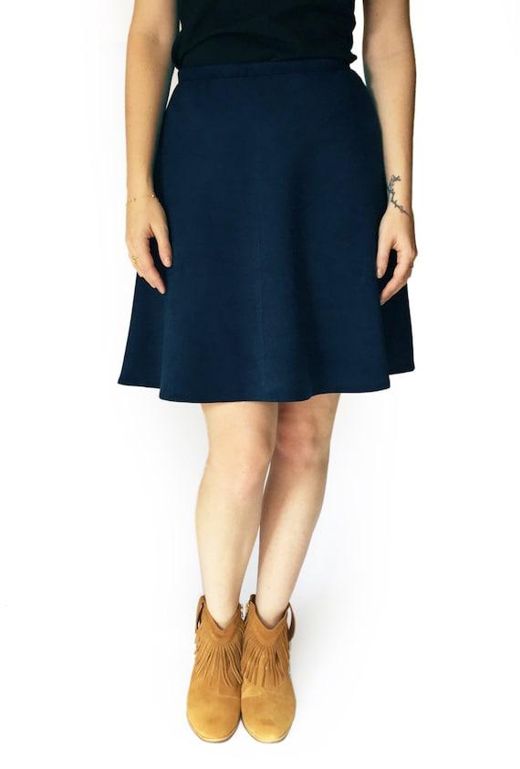 blue skirt blue suede like skirt winter skirt vegan skirt