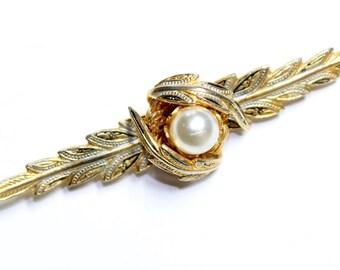 Damascene Toledo Leaves Faux Pearl Large Vintage Bar Brooch (c1960s) - Wedding