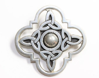 Cornish Celtic Pewter Trinity Knots Vintage Brooch (c1980s)