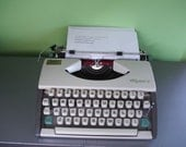 RARE Early 1960s Olympia Deluxe CURSIVE Typewriter Portable Manual  in Black Case Works Great!