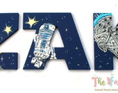 Star Jedi Space Wars Painted Letters, Navy Star Jedi Painted Letters, Sci-Fi Painted Letters, Star Jedi Space Nursery Personalized Baby Name