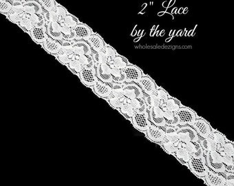 """NEW White Elastic Lace - 2"""" - High Quality Lace - DIY Headbands Maternity Sash Garter Bridal Lace - Stretch Lace By The Yard - 2 inches Wide"""