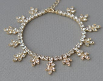 Floral Gold Bracelet, Wedding Bracelet, Gold Rhinestone Bracelet, Bridal Jewelery, Rhinestone Bracelet, Bridal Accessory, Bride ~JB-4840-G