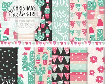 Christmas cactus digital paper pink and mint green. Holiday decoration, bunting, garland, flowers. Merry Christmas digital download.