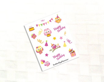 Happy Birthday Owl Deco Stickers for Your Planner, Celebration, Birthday Party