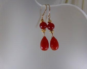 Carnelian earrings dangle earrings 14k gold filled gemstone handmade item 883