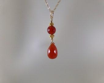 Carnelian necklace  14k gold filled gemstone handmade  item 887