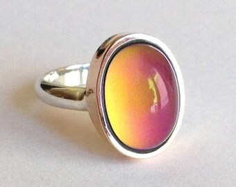 Mood Ring 8k Rose Gold Sterling Silver 925 - 14x10 mm - DELUXE