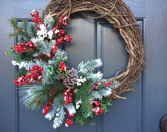 Winter Wreaths, Christmas Wreaths, Holiday Wreaths, Christmas Decorating, Christmas Decor, Winter Door Wreaths, Berry Wreaths, Red and White