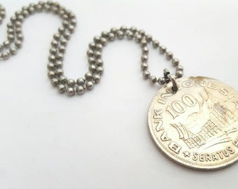 1978 Indonesian Coin Necklace  - Stainless Steel Ball Chain or Key-chain - Indonesia