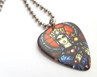 Stained Glass Style Guitar Pick Necklace with Stainless Steel Ball Chain
