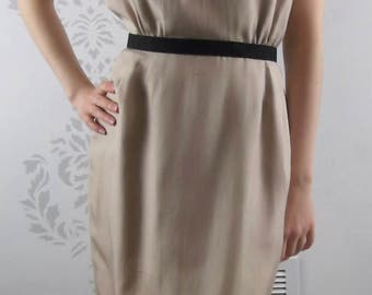 VINTAGE SILK DRESS 1950's Beige Lined Size Small