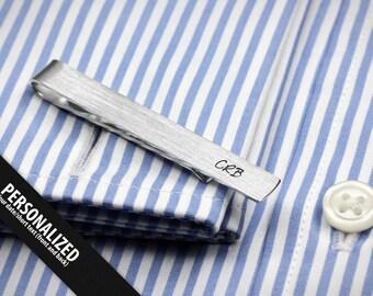 Monogram tie clip - Wedding Tie Clip personalized - Father of the bride tie clip - Skinny Tie Clip sterling silver