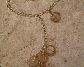 Gold Wire Wrapped Light Amber Rounds 3-Way Necklace