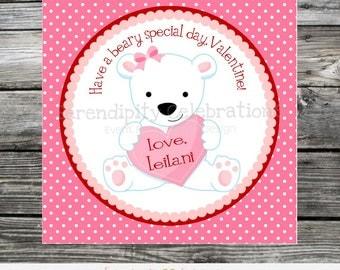 Printable Valentine Cards, bear Valentine's Day Card, Classroom Cards, Valentine's Day,  Kids Valentine Cards, DIY polar bear valentines