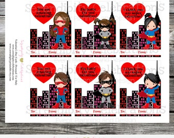 Instant Download, Printable Valentine Cards, Superhero Valentine's Day Cards, Classroom Cards, Kids Valentine Cards, Superhero Valentine tag