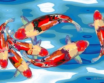 6 Koi Fish - Digital Art ( 7.38 MB)