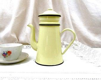 Antique French Pale Buttercup Yellow Enamelware Cafetière Excellent Condition, Coffee Pot, French Country Decor, Retro, Vintage, Home