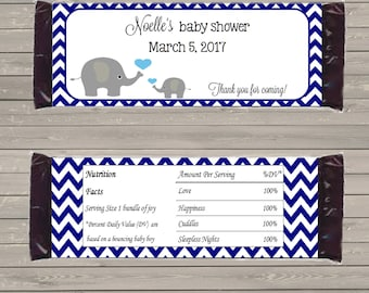 Customizable Printable Elephant Candy Bar Wrapper for 1.5 oz Hershey Bars mms001