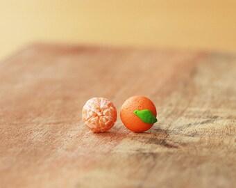 Tangerine Earrings, orange ear studs, orange earrings, Miniature Clementine earrings, fruit jewelry, fruit earrings, food jewelry