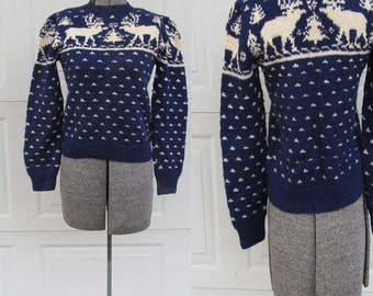 Vintage knit navy blue sweater with moose and pine trees, XS sweater