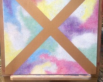 "original gold ""x"" rainbow cloud/galaxy wall art"