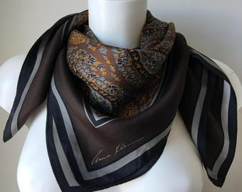 Anne Klein silk scarf paisley print brown gray bronze floaty rolled hem rectangular neck scarf headscarf sophisticated shoulder shawl