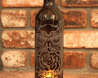 Lantern Rose Owl Dia De Los Muertos - Amber (Stand & Candle Included), Eco Friendly, Upcycle, Recycle, Winebottle