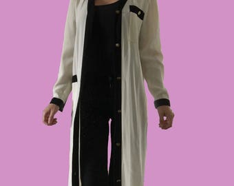 Long White Cardigan/ Floor Length Cardigan/ Maxi Cardigan/ Maxi Dress/ Lightweight Cardigan/ White and Black Cardigan/ Long Sweater/ Petites