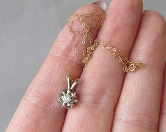 Classic 1970's Vintage Solid 14K Yellow & White Gold Small Diamond Pendant Necklace