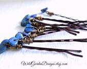 Lapis Lazuli Blue Hair Pins Set Natural Indigo Blue Gemstone Accessories Boho Chic Hair Style Trend Bohemian Wedding Accessory Set of Three