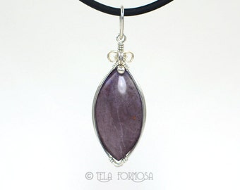 Wire Wrapped Jewelry Rare Turkish Purple Jade Pendant Natural Purple Stone Pendant Cabochon Pendant Handmade Wire Wrapped Pendant Jadeite