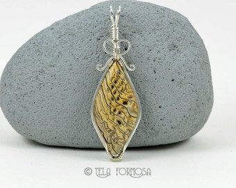 Wire Wrapped Jewelry Rare Hells Canyon Pendant Petrified Wood Pendant Fossil Pendant Natural Stone Cabochon Pendant Handmade Sterling Silver