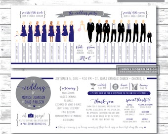 silhouette wedding program, wedding program, wedding party silhouettes, ceremony program, bridal party, sign, PRINTABLE or PRINTED PROGRAMS