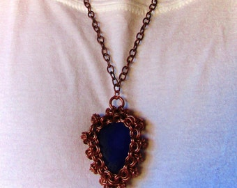 Sea Glass Chain mail Necklace, Cobalt Sea Glass, Chainmaille Bezel, Copper Chainmail Pendant, Unisex Larp Jewelry, Chain maille jewelry