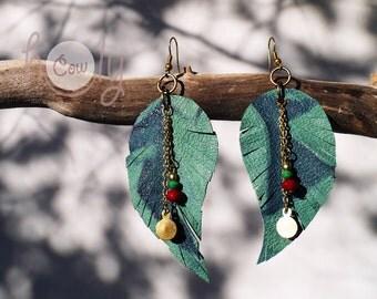 Leather Earrings, Green Leaf Earrings, Hippie Earrings, Bohemian Earrings, Dangle Earrings, Gift For Her, Christmas Gift,  Bead Earrings
