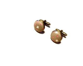 Bronze button cufflinks cloth silver cotton novelty geek retro fashion mens accessory wedding Fathers Day