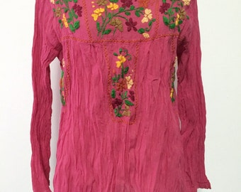 Hand Embroidered Blouse Cotton Top Long Sleeve, Bohemian Style