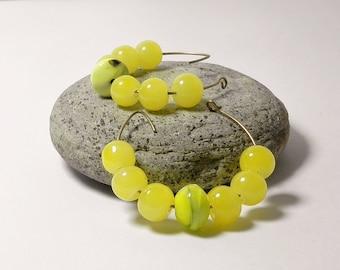 Hoop Earrings Dangle Earrings Yellow Earrings Beaded Earrings Boho Earrings Small Hoop Earrings Gypsy Gift for her Handmade Fashion Jewelry